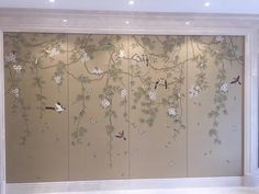 Birds and Vines: Chinoiserie Handpainted Wallpaper with Partial Hand Embroidery custom size availabl Wallpaper Door, Silk Wallpaper, Hand Painted Wallpaper, Chinoiserie Wallpaper, Painting Wallpaper, Glass Design, Wall Design, Wardrobe Door Designs, Vides