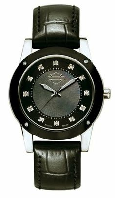 Harley-Davidson® Women's Bulova Wrist Watch. 16 Diamonds. Mother-of-Pearl dial. 78R100 Harley-Davidson. $254.95. 16 diamonds. Black mother-of-pearl dial with tone-on-tone sunray pattern; sweep second hand. Black leather strap; WR50m/165ft.. Black anodized aluminum top ring, Screw back. Domed crystal, Luminous hands, Stainless steel case. Save 15%!