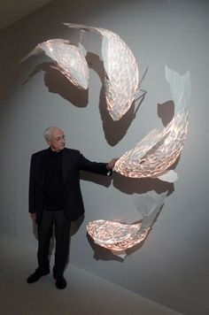 Fish Lamps, Gehry Partners LLP, world architecture news, architecture jobs. Could we find the another form with our wall? Fish Lamp, Instalation Art, String Lights Outdoor, Luminaire Design, Decoration, Sculpture Art, Paper Art, Garden Design, Creations