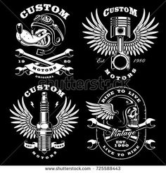 Set of 4 vintage motorcycle illustrations, logos, badges, prints. Vintage style. VERSION FOR DARK BACKGROUND, All elements and text are the on separate layer.