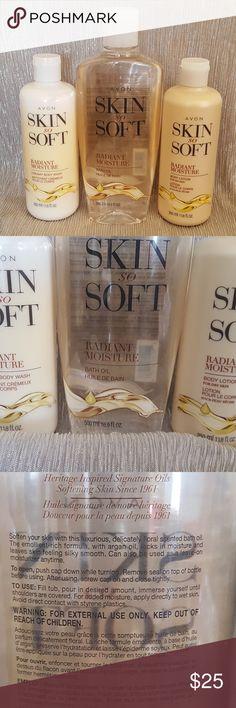 Avon Radiant Moisture Bundle Skin So Soft Radiant Moisture bundle includes:  *Radiant Moisture bath oil (16.9 fl oz) *Radiant Moisture body wash (11.8 fl oz) *Radiant Moisture body lotion (11.8 fl oz) Avon Other