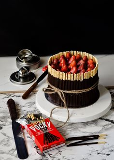 Pulling at the heart strings /-/ Triple Choc mousse pocky cake | The Moonblush Baker