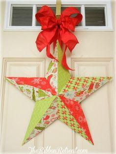 Fabric Mod Podge Christmas Star - {The Ribbon Retreat Blog}