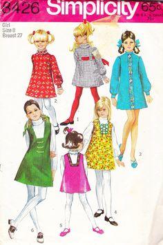 1969 Girl's Mod Dress -my grandmother made me one like the long sleeved blue one