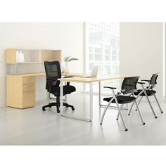 U Desk with Hutch and Chairs Set