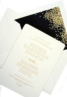 Simple, elegant invitation from Vera Wang available at Honey Paper. We will work with you to completely customize. www.honey-paper.com.  Black and white wedding or celebration. Black and Gold Foil wedding or special celebration.