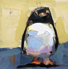 Penguin no. 6 Original Oil Painting by Angela Moulton 6 x 6 inch pre-order