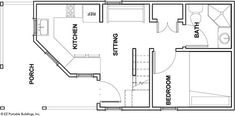 EZ Portable Buildings - Tiny Houses - The Magnolia Floorplan Tiny House Big Living, Shed To Tiny House, Tiny House Cabin, Tiny House Design, Small House Plans, Tiny Houses, Log Cabin Plans, Shed Cabin, Cabin Floor Plans