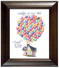"Custom Wedding Guest book Ideas Disney Movie Up Themed Wedding Guest Book alternative Wedding Gift  Movie ""Up"" House Balloons Valentines"