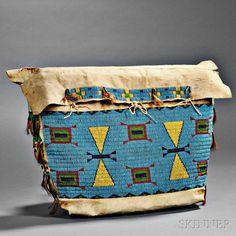 Lakota Beaded Buffalo Hide Possible Bag, c. 1870. | Auction 2893B | Lot 132 |