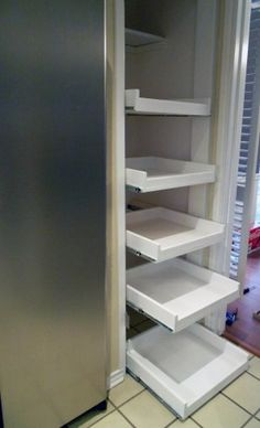 DIY tutorial ~ how to make pull out shelves for your pantry. Tons of amazing DIY home projects & tips. - Click image to find more Home Decor Pinterest pins