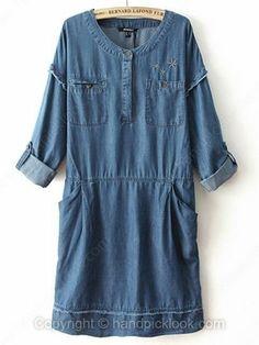 Blue V-neck Three Quarter Length Sleeve Embroidery Denim Dress -$32.39