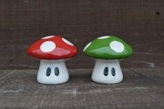 Ceramic Mushroom Salt and Pepper Shaker Set  Red and by InAGlaze, $26.00
