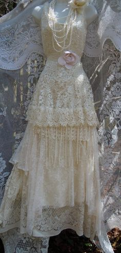 Cream wedding dress tiered lace tassels beaded by vintageopulence  I bought a wedding dress from this shop. I LOVE what she come up with!