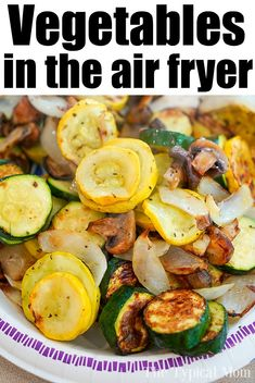 healthy recipes Best air fryer vegetables you will ever make are here! No breading, just seasonings and mixed vegetables cooked to perfection. A healthy side dish fave. Air Fryer Dinner Recipes, Air Fryer Oven Recipes, Air Fryer Recipes Squash, Recipes Dinner, Grilled Dinner Ideas, Air Fryer Recipes Potatoes, Steak Potatoes, Healthy Chicken Recipes, Vegetarian Recipes