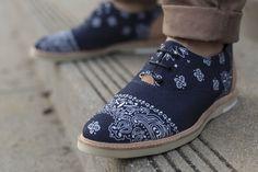 Navy Bandana Print Summer Loafers. Men's Spring Summer Fashion.