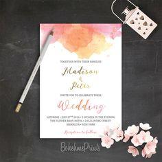 Simple Wedding Invitation Set Printable Wedding by BohemePrints #RePin by AT Social Media Marketing - Pinterest Marketing Specialists ATSocialMedia.co.uk