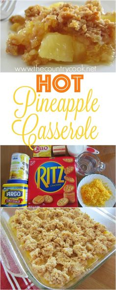 Best ritz pineapple casserole Hot Pineapple Casserole recipe from The Country Cook. One of my absolute FAVORITE southern dishes. This must be made at every single holiday in my house. SO goo! Pineapple Recipes, Fruit Recipes, Dessert Recipes, Cooking Recipes, Easy Recipes, Dessert Salads, Cooking Tips, Healthy Recipes, Köstliche Desserts