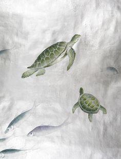 turtle & fish custom wallpaper by de Gournay // #turtle #fish #wallpaper
