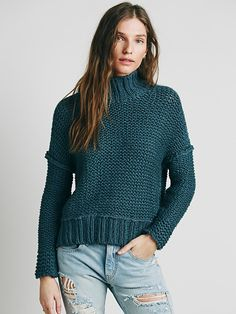 Free People Chunky Cowl Neck Sweater at Free People Clothing Boutique