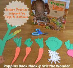 Scissor Practice inspired by Tops & Bottoms | Stir The Wonder #poppinsbooknook #finemotor #preschool