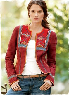 brilliantly-hued quilted cotton jacket is embroidered in folkloric motifs at the yoke, seams and banded cuffs. Cropped and boxy, it reverses to a vivid paisley with orange piping to double your options; Outfit Essentials, Boho Fashion, Fashion Outfits, Womens Fashion, Fashion Design, Fashion News, Parka, Cotton Jacket, Jacket Style