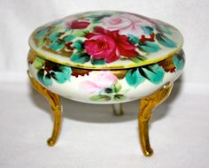 Antique 1950's Porcelain Jewelry Trinket Box with Gold Trim and Hand Painted…