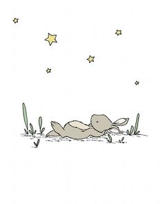 Bunny Nursery Art :  This sweet little bunny is relaxing in a meadow, stretched out, gazing at the stars above.  You can CUSTOMIZE this print