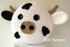 Rainbow Unicorn Pillow - Cushion CROCHET PATTERN - crochet patterns for animal pillows - Birthday present - Baby shower gift Cute Cushions, Animal Cushions, Crochet Cushions, Crochet Pillow Pattern, Crochet Motif, Crochet Patterns, Pillow Patterns, Crochet Animals, Crochet Toys