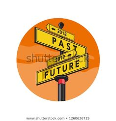Retro style illustration of a directional signpost showing 2018 Past and 2019 Future sign direction set inside circle on isolated background. Retro Vector, Vector Free, Feminist Articles, New Pictures, Creative Business, Signages, Retro Fashion, Royalty Free Stock Photos, Retro Style