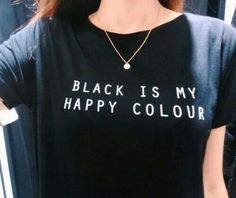 T-Shirts  Black Is My Happy Color Letter Women Unisex Black O Neck T Shirts Printing Fashion Tee Black Tops Lady T-shirt 4 Plus size <3 AliExpress Affiliate's Pin. Detailed information can be found on AliExpress website by clicking on the image