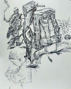 Illustration with ballpoint by Greek artist Kokoris Greek, Illustrations, Artwork, Artist, Art Work, Work Of Art, Auguste Rodin Artwork, Greek Language, Illustration