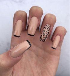 Acrylic Nails Coffin Short, Simple Acrylic Nails, Fall Acrylic Nails, Acrylic Nail Designs, Cheetah Nail Designs, Long Gel Nails, Coffin Shape Nails, Fall Nail Designs, Short Nails