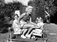 Betty Grable with daughters Victoria and Jessica. (1954)