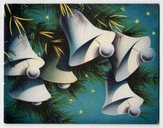 Vintage Greeting Card Christmas Bells Norcross Stars Blue 1950s