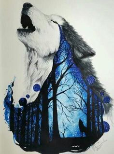 wolf, art, and drawing Bild