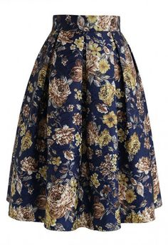 Floral Vintage Embossed Pleated Midi Skirt in Navy - Retro, Indie and Unique Fashion Navy Skirt, Pleated Midi Skirt, Midi Skirts, Chiffon Maxi, Retro Chic, Retro Vintage, Unique Fashion, Floral Stripe, Floral Rosa