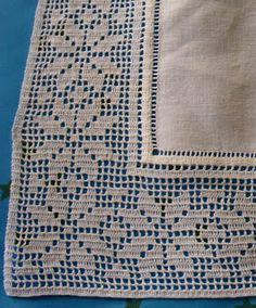 Crochet Border Patterns, Crochet Lace Edging, Crochet Fabric, Crochet Doilies, Crochet Flowers, Crochet Placemats, Filet Crochet Charts, Fillet Crochet, Tablecloth Fabric