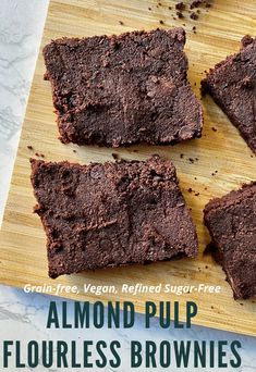 A great use of leftover almond milk pulp. These vegan, gluten-free, and grain-free almond pulp flourless brownies are fudgy, rich, and decadent and incredibly easy to make! Paleo Chocolate, Chocolate Recipes, Grain Free, Dairy Free, Almond Pulp, Paleo Brownies, Nut Milk Bag, Homemade Almond Milk, Paleo Sweet Potato