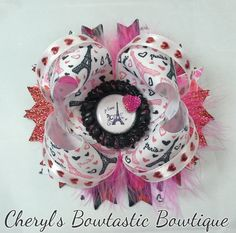 Eiffel tower Je T'aime Twisted Boutique bow by CherylsBowtasticBows