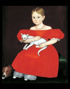 Ammi Phillips (American, Girl in Red Dress with Cat and Dog Oil on canvas 30 x 25 in. American Folk Art Museum, New York Art Antique, Primitive Folk Art, A4 Poster, Naive Art, Art Graphique, Outsider Art, Early American, American Artists, Cat Art