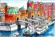 Original  watercolor painting. Hamburg. Second by WorkmanshipFox