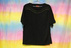 90s Vintage Black Beaded T Shirt Gold Beads Tee by SOMAVINTAGE