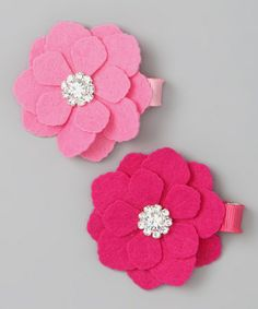 Take a look at this Hot Pink & Bubble Gum Pink Valentine Flower Clip Set by Charlotte Rose Couture on #zulily today!