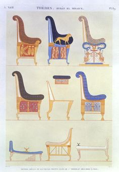 Illustrations of various painted seats and armchairs from the 5th Tomb of the Kings at the east, Biban El Moluk, plate 89 from Vol II of 'Descriptions of Egypt', engraved by Pomel, 1822
