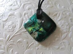 Fused Glass Pendant  Art Glass Jewelry  Jewelry Mold  Green