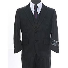 Ferrecci Boy's Shadow Stripe Black 3-piece Suit: Yes, I can shop in the little boys' section. Shush. ;P