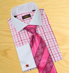 Steven Land White With Fuchsia Windowpanes 100% Cotton Dress Shirt With White Spread Collar / White French Cuffs