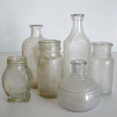 Set of 6, Clear Pharmacy Bottles