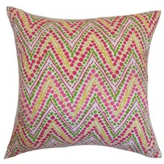 Make your living room or bedroom more inviting and cozy with this graphic throw pillow. This accent pillow features a bold zigzag print pattern in shades of green, pink, yellow and white. Interesting and unconventional, this square pillow will brighten up your interiors with a pop of fun colors. Pair this pillow with solids or other zigzag decor pieces for a festive theme. Made from 100% plush and durable cotton fabric. $55.00   #zigzag  #pillows  #homedecor